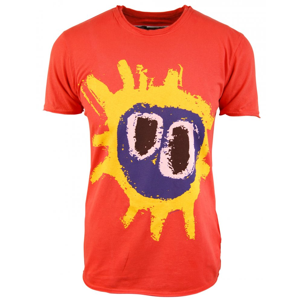 Screamadelica orange t-shirt with yellow, purple and black design on front on white background