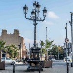 A photo of the five lamps lamppost on Amiens street in Dublin 2