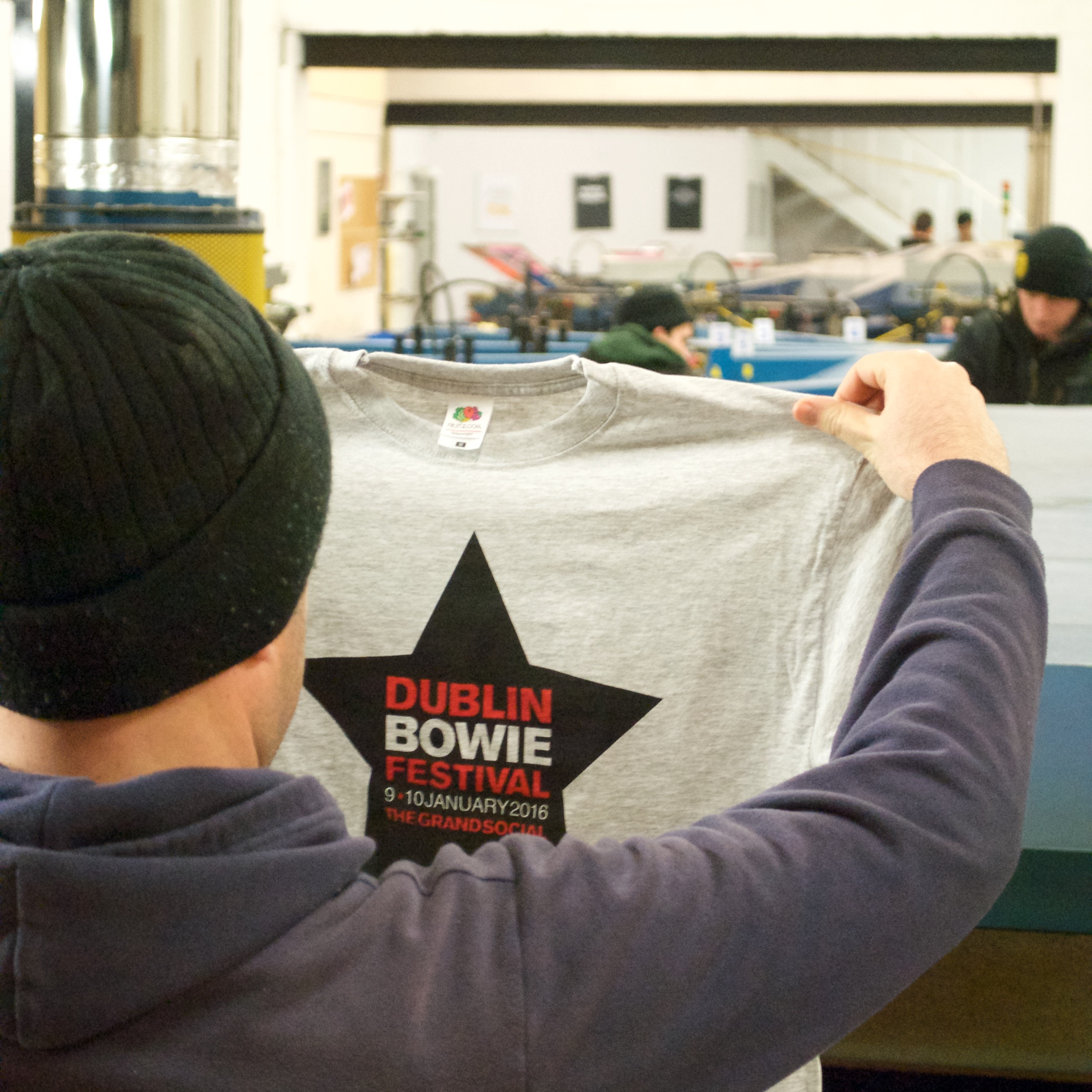 Vinny from the T-Shirt Company with a David Bowie festival heather grey fruit of the loom t-shirt