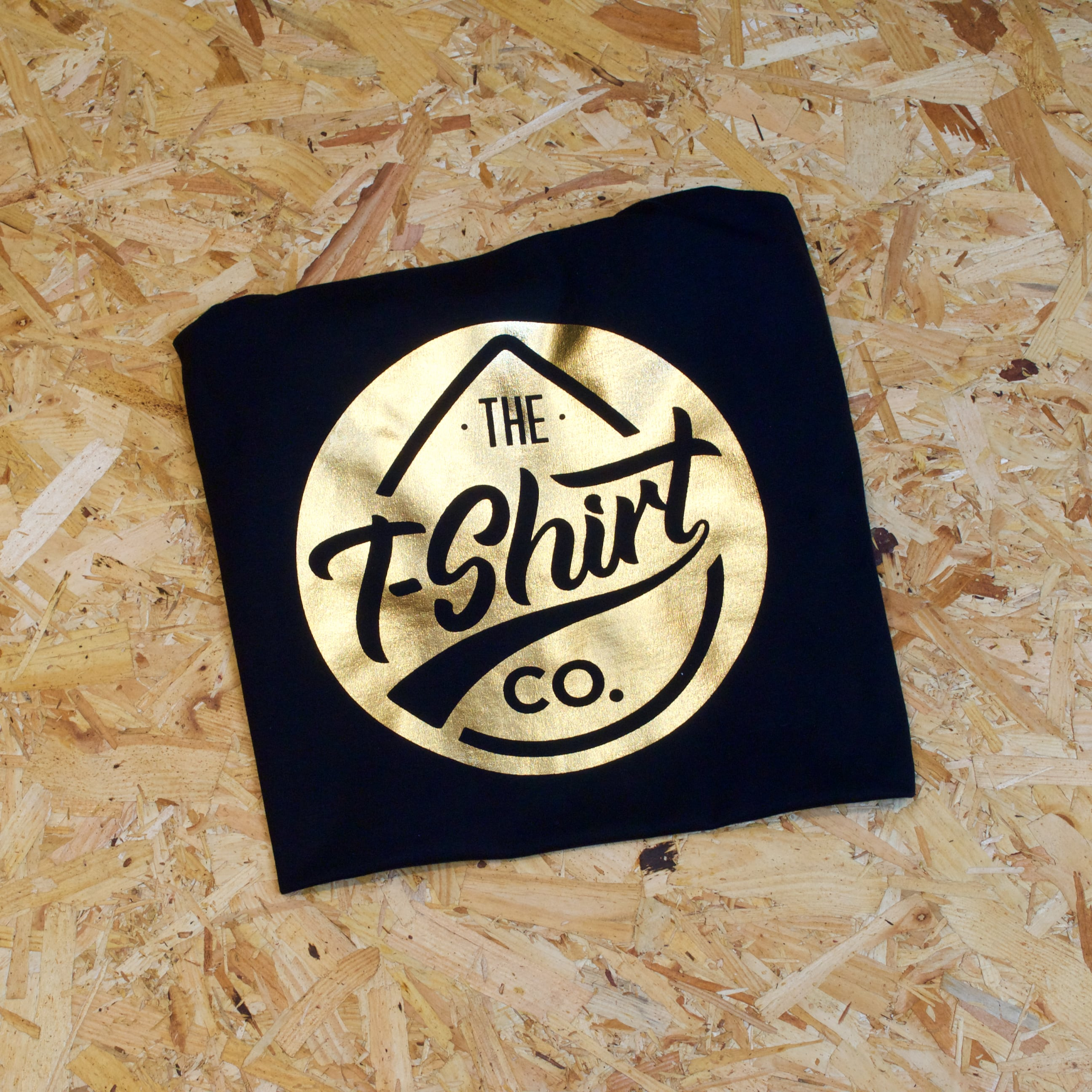 Gold Foil print on classic black t-shirt from The T-Shirt Company Dublin
