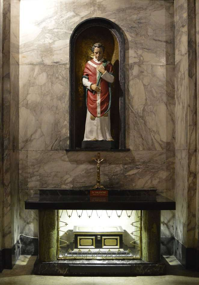 Statue of Saint Valentine and his remains at Whitefriar Church in Dublin city