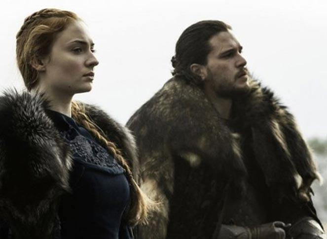 Sansa Stark and Jon Snow on horseback in Season 6