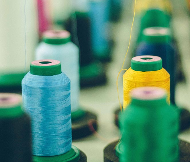 Spools of embroidery thread
